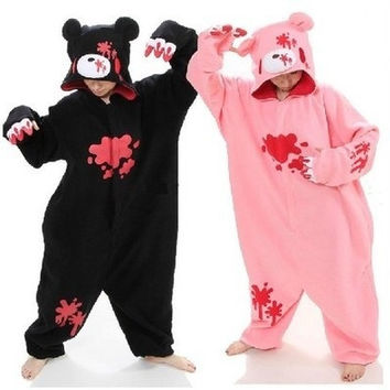 Halloween Unisex Anime Animal Gloomy Black/pink Bear Cute Onesuit For Adults Couples Cosplay Pajamas One Piece Sleepwear
