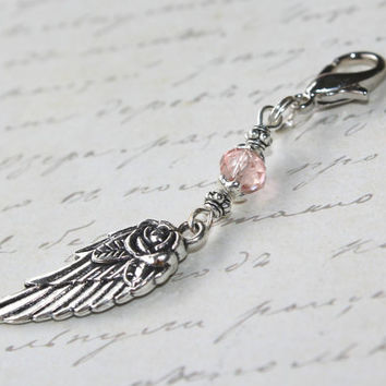 Pink Angel Wing Charm,Guardian Angel Crystal Charm,Unique Yoga Jewelry,Zipper Pull,Angel Charm,Silver Feather Charm,Rose Wing Charm