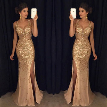 fashion luxury evening dresses with slit 2017 v neck crystal beaded mermaid  womens pageant gown for formal party vestido festa