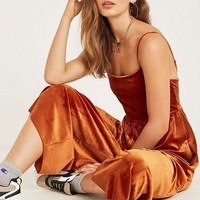 UO Orange Velvet Straight-Neck Jumpsuit | Urban Outfitters