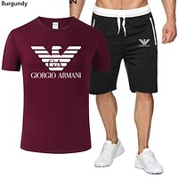 Armani 2019 new thin men and women wild breathable short-sleeved sports suit two-piece Burgundy