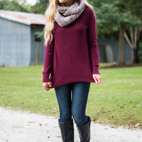 Patchwork Love Sweater, Burgundy