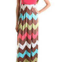 ***PREORDER***Coral/Brown Chevron Maxi Dress