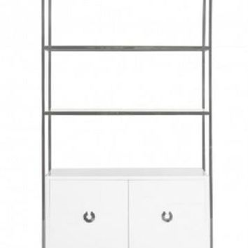Wyeth White Lacquer Cabinet with Shelves | Nickel
