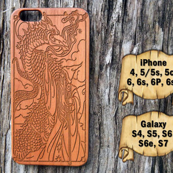 Wizard and Dragon, iPhone 6/6s/6P/6sP 5/5s/5c 4/4s, Samsung S7 S6/S6e S5 S4, Laser Engraved Genuine Wood Case