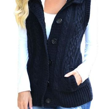 Women Navy Cable Knit Hooded Sweater Vest