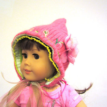 Photo prop hat for newborns, pink green and cashmere pixie hood, embroidered felted pulled wool spring baby hat, fits 18 inch dolls