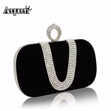 AEQUEEN Women Crystal Evening Clutch Bags 2017 Diamond Handbags Wedding Party Purse Rhinestones Clutches Luxury Banquet Evening