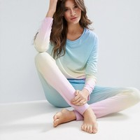 ASOS Rainbow Dip Dye Long Sleeve Tee & Legging Pyjama Set at asos.com