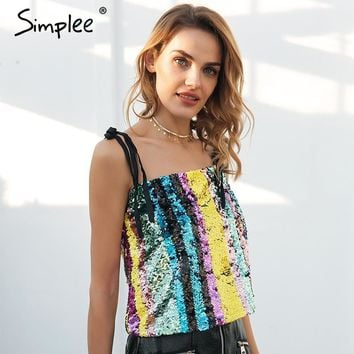 Simplee Strap sequin camisole tank crop top women Tie up sexy cropped cami  2018 Summer club party streetwear top tees female