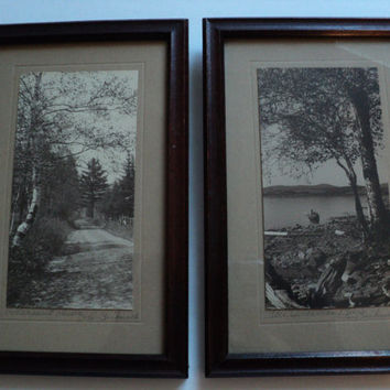 Nature Photographs Early 1900's Maine Original Frames Signed by Photographer JC Bicknell Titled Pleasant Drive and Guardian Birch