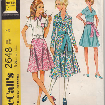Easy to Sew Flared Dress McCalls 2648 Bust 32 Flared Gored Skirt and Dart Fitted Bodice UNCUT Vintage 1970s Step by Step Sewing Pattern