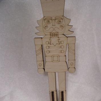 Nutcracker with Stand, Laser Cut Outs, Unfinished Wood, Christmas Decorations, Holiday Home Decor, Christmas Ornaments, Ready to Paint Wood