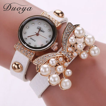 Duoya Fashion Leather Bracelet Watch Women Luxury Bow Pearl Wristwatch