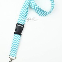 Wave Fabric Neck Chevron LANYARD with  Detachable buckle (Aqua)