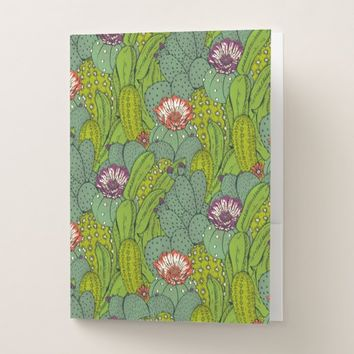 Cactus Flower Pattern Pocket Folder