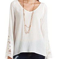 Embroidered Bell Sleeve Tunic Top by Charlotte Russe