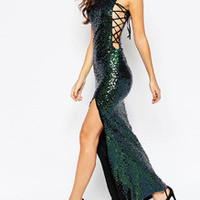 Green Sleeveless Sequined Split Dress