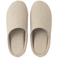 Linen Twill Cushion Slippers Ecru M