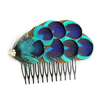 KKISSPAT@ Blue Peacock Hair Comb, Handcraft Feather Comb, Wedding Hair Comb & Bridesmaid Gift