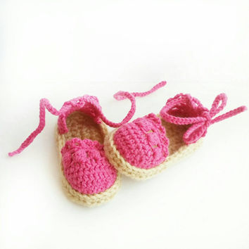 Baby Sandals - Baby Shower Gift for Girls - Crochet Crib Shoes -Beach Sandals - Espadrille Baby Shoes - Espadrilles