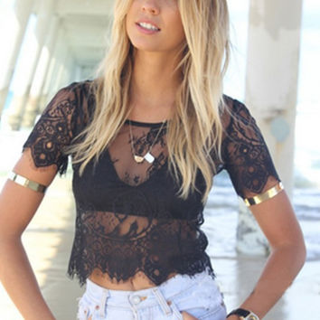 Women's Sexy Vintage See-Through Lace Short-Sleeve Crop Top