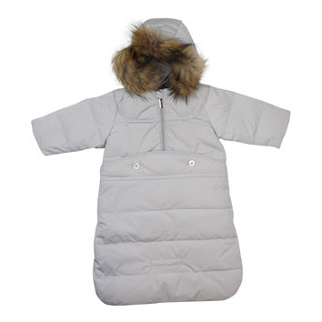 Pramie Down Grey Puffer Jacket and Bunting Set