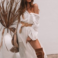 Casual White Shirt Dress Double Pocket Side Vents Chic Women Dresses Tassel Tie Waist Bohemian Dress Gypsy