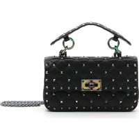 VALENTINO GARAVANI Small Oil Slick Rockstud Spike Lambskin Shoulder Bag | Nordstrom