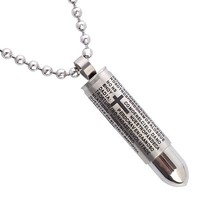 Atlas Jewels Men's Solid Stainless Steel Latin Prayer Military Bullet Pendant Necklace with Three Chains