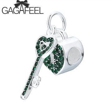 GAGAFEEL Lovely Heart Key & Lock Beads Charms Fit Pandora Bracelet Green / Black Crystal Charms Diy Beads for Jewelry Making