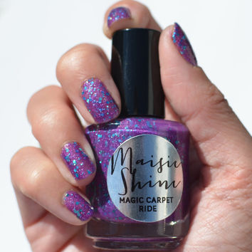 Nail Polish: Magic Carpet Ride - Purple Polish with Purple and Teal Glitters