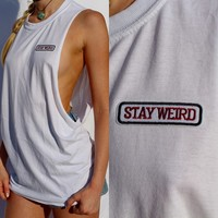 Stay Weird White Racer Tank