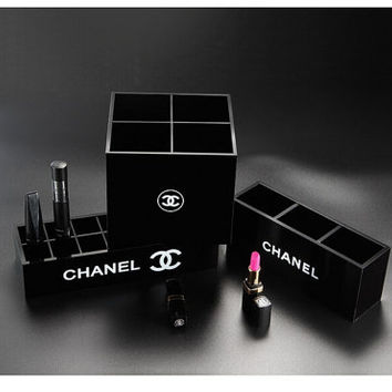 Acrylic chanel inspired luxury designer  makeup brush holder storage three + four + fourteen grid glossy Kit 3 piece bundle cosmetics box