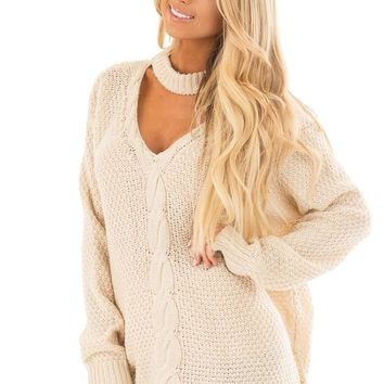 Ivory Cable Knit V Neck Sweater with Choker Band