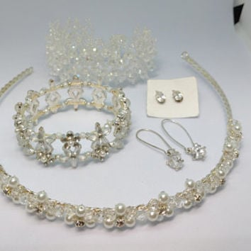 Crystal Like Glass and faux Pearl Costume Jewelry Lot, Earrings, Bracelets and a Tiara Like Headband, Add a little Sparkle to your Life