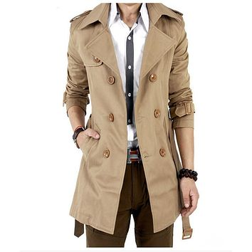 Trench Coat Men Classic Double Breasted Men's Long  Coat Men's Clothing Long Jackets & Coats British Style Overcoat