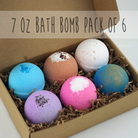 Pack of 6 Bath Bombs Set Extra Large 7oz Top Selling or You Pick Scent Handmade Shea Cocoa Butter Moisturize Dry Skin Child Safe Great Gif