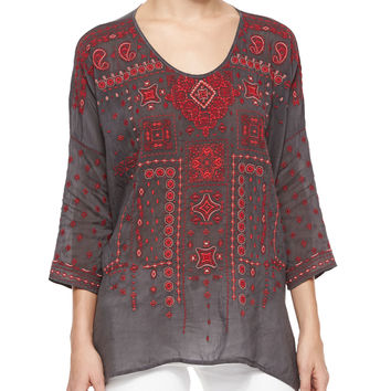 Amaru 3/4-Sleeve Embroidered Blouse, Size: