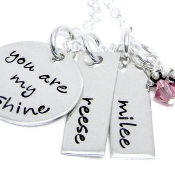 You are My Sunshine - Personalized Hand Stamped Necklace - Mom and Child Jewelry
