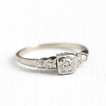 Vintage Diamond Ring - 14k White Gold .21 CTW Diamond Engagement Ring - 1940s Size 7 1/2 Retro Illusion Single Cut Accents Fine Jewelry