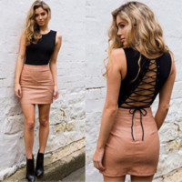 Fashion Backless Hollow Crisscross Bandage Sleeveless Romper Jumpsuit Bodysuit