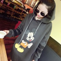 1074 Xl- 5xl Cartoon Mickey Letter Fleece Cotton Hooded Women Hoodies Sweatshirts Long Grey Plus Size Winter Casual Dress