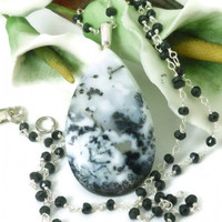 White Dendritic Opal Pendant Black Spinel Necklace 18 inch Sterling