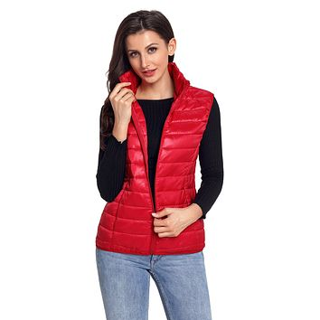 Womens Red Quilted Cotton Down Vest