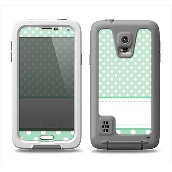 The Vintage Light Green Polka Dot With White Strip Samsung Galaxy S5 LifeProof Fre Case Skin Set
