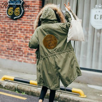 Hirsionsan 2017 Winter Parkas Women Large Fur Collar Hooded Coat Thicken Warm Cotton-padded Jackets Army Green Military Parka