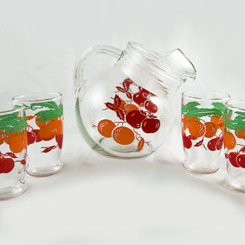 Vintage Juice Pitcher and Glass Set - Six Glasses - Cherries & Oranges Serving Set