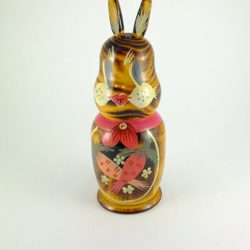 Vintage Rabbit WOODEN PIGGY BANK, Lovely Hand Painted Bunny Piggy Bank Brown,Yellow,Red Pink Flowers Carrots, Coin Slot