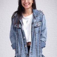 Acid Wash Studded Denim Jacket from PoppyLovers